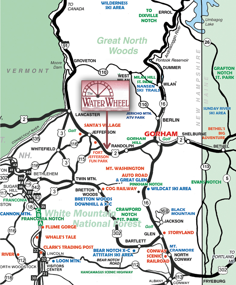 Water Wheel Breakfast Gift House US Route Jefferson NH - Us route 2 map
